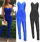 Women Sexy Polyester-Cotton Blend Leakage Shoulder Pocket Jumpsuits Hot New