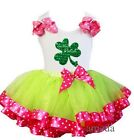 Pink Green Satin Tutu St. Patricks Day In The Patch Shamrock Outfit Party Dress