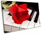 Red Rose Flower Piano Floral Framed Canvas Wall Art Picture Print
