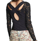 Sexy Fashion Women Hollow Out Lace Stitching Back Cross Fit Long Sleeve T-Shirt