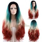 "Long Curly Wavy 18""-28"" Blue Blonde Red Lace Front Wig Heat Resistant"