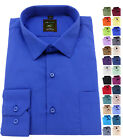 Men's Plain Cotton Everyday Shirt Easy Care Formal Casual Collar Long Sleeve