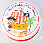 """Pirate Cake Topper - Girls - Personalised - Edible Wafer or Icing - 7.5"""" Round"""