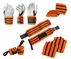 Power Weight Lifting Wrist Wraps Supports Gym Training Pro Thumb Loop Pair 12""