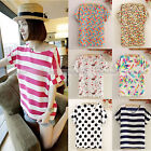 Hot Casual Women Short Sleeve Loose Chiffon Stripe Floral Tops Blouse T Shirt DY