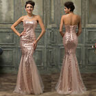 FISHTAIL Sexy Long Slim Sequins Mermaid Evening Party Bridesmaid Prom Gown Dress