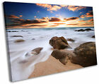 Cornish Beach Sunset Cornwall Framed Canvas Wall Art Picture Print
