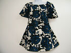 STUNNING BLUE, BLACK & CREAM FLORAL SHORT SLEEVE TOP SIZES16.18,20,22,24,26,28
