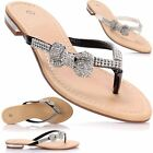 Ladies Women Flat Low Heel T bar Post Thong Diamante Bow Beach Sandals Mule Shoe
