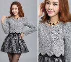 Womens Winter Spring Fashion Slim Long Sleeve Woolen Sheath Empire Waist Dress