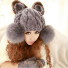 Trendy Cute Faux Fur Ball Wool Hat Winter Cap Devil Cat Ear Knit Ski Beanie FOUK