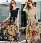 Fashion Womens Floral BOHO Ball Gown Chiffon Summer Beach Short Sleeve Dress