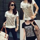 Fashion Womens Sequin Embellished Short Sleeves T-shirt Tops 2 Colors S~XXL IUK
