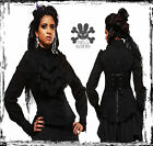 HELL BUNNY 6253 SPIN DOCTOR BLACK JABOT VICTORIAN STEAMPUNK SHIRT 8 10 12 14 16