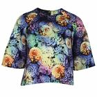 PAPER DOLLS WOMENS MULTI-COLOURED FLORAL CROPPED TOP
