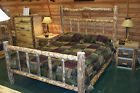 Twin Full Queen King Rustic Pine Log Deluxe Bed Frame, western lodge cabin wood