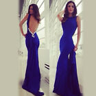Hot Sexy Lady Blue Slim Backless Cocktail Evening Gown Party Long Dress 1Pc