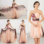 2017 Long/ Short Floral Bridesmaid Evening Gowns Wedding Formal Party Prom Dress