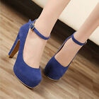 Glamorous Women's Sexy Suede Ankle Strap Stiletto High Heel Platform Pumps Shoes