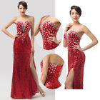 RED Glitter Sequins Formal Homecoming Cocktail EVENING Wedding Party Slim Dress
