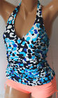 *NEW Carribbean Joe Swimwear Shirred Front Halter Tankini Top Navy size 16 12