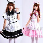 Black Beer Lolita cat Maid Outfit Costume Party dress Set apron Hot Cosplay Sexy