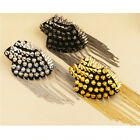 2 X Fringe Tassel Shoulder Epaulet Stud Spike Punk Fashion DIY acket Accessory