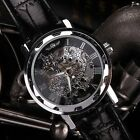 New Men's Black Leather Band Golden Skeleton Mechanical Sport Army Wrist Watch