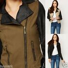 818 Biker Style Contrast Quilted Sleeve Waist Length Jacket Size S M L XL