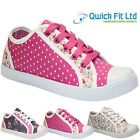 NEW GIRLS LACE UP CANVAS FLAT PUMPS PLIMSOLLS LADIES TRAINERS SHOES SIZE 13-5 UK