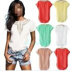 Women Casual Chiffon Blouse Short Sleeve Shirt T-shirt Summer Blouse Tops 2015