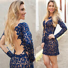 Sexy Women Slim Backless Lace Embroidery Cocktail Evening Gown Party Mini Dress