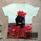 T-shirt Top Tee Cute Dog Animal trotter the french bulldog Red Flower Romantic