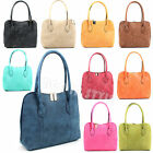 Ladies Faux Suede Leather Shoulder Tote Handbag Top Handle