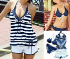 Retro Lady Stripes Underwire Padded Bra Swimsuit Tankini Bikini Swimwear Set