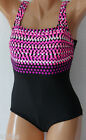 *NEW Reebok Antimicrobial Sport Fitness Fashion Swimsuit size 14 Black Pink