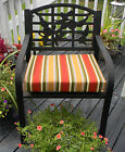 Redwood Red, Green Tan Stripe Patio Chair Cushion Pad -Choose Size -In / Outdoor