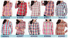 Women cotton Long Sleeve classic Plaid check Button Down Casual Shirt blouse Top