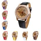 New Butterfly Diamond Watch Gold Dial Leather Band Quartz Wrist Watch Cheap