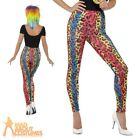 80s Neon Leopard Print Leggings Rainbow Ladies Fancy Dress Costume Accessory