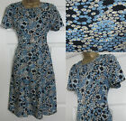 NEW EX M&S MARKS & SPENCER FLORAL SUMMER TEA DRESS VTG STYLE BLUE BLACK SZ 8-18