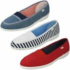 Ladies Freestep Loafer Flat Textile Shoes Patch