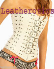 White Leather corset Gothic Bridal studded steel boned