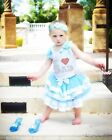 Father's Day I LOVE DAD Princess Cinderella Satin Trim Skirt Girl Outfit NB-8Y