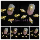 10 Alloy Gold Fake Pearls Rhinestone Nail Art Metal 3D Tips Craft Phone Decor