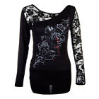 Spiral Direct Fatal Attraction Long Sleeve Lace Top (Black)