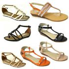 WOMENS LADIES NEW FASHION GLADIATORS SUMMER PARTY SANDALS BEACH FLAT SHOES SIZE