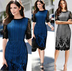 Womens Summer Elegant Floral Lace Party Evening Formal Fitted Pencil Dress 505
