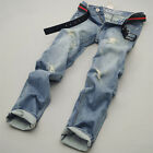 CHEAP Mens Slim Fit Straight Jeans Pants Skinny Scratched Casual Jeans Trousers
