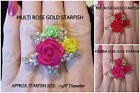 Crystal Starfish Rose Stretch Ring *OPTION* Roses Floral Gold Metal Nautical